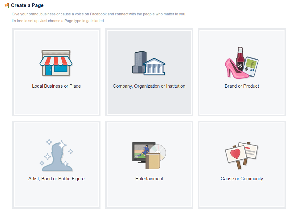 Facebook tools: create a page selection