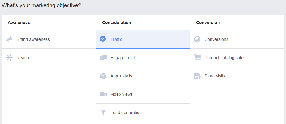 Facebook tools: Ads Manager Marketing Objectives